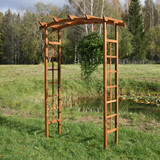 Photo de  Pergola double arc en bois 160 x 60 x H 210 cm
